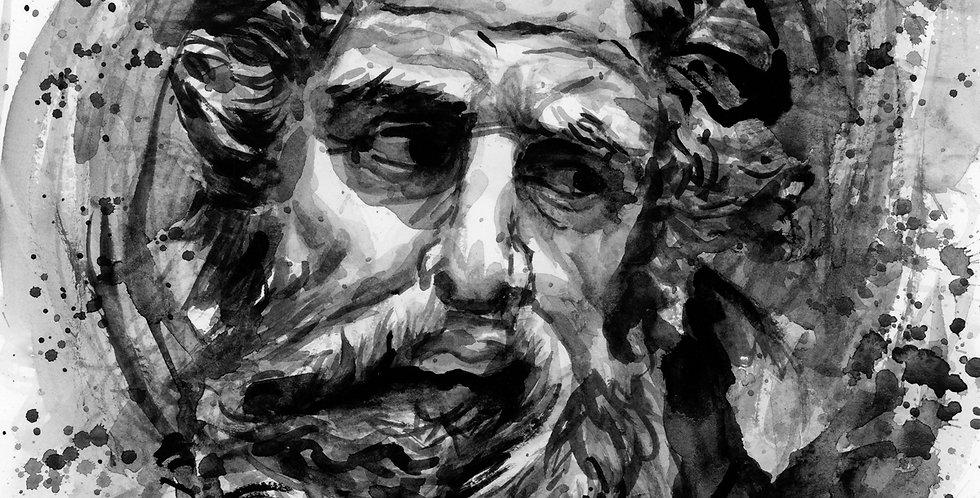 Greek God Watercolor Painting