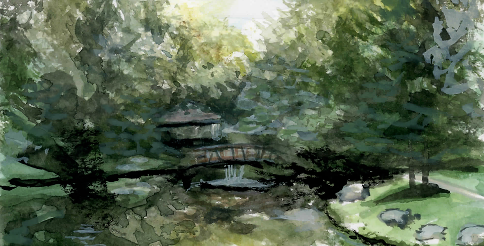 Twin Oaks Park Watercolor Painting Prints