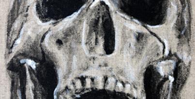 Skull acrylic painting on Linen