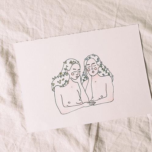 Print — Amitié fleurie