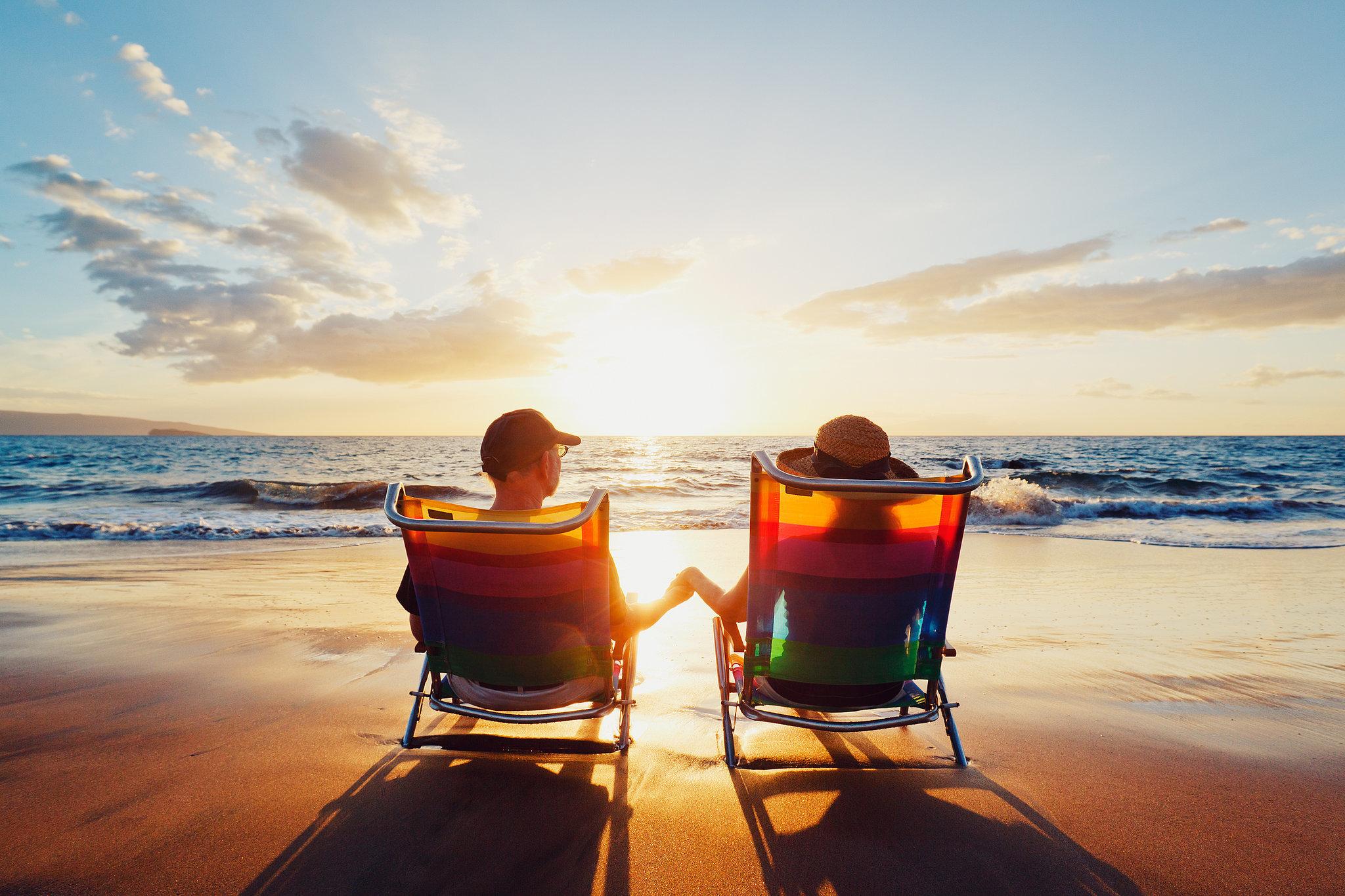retired on beach