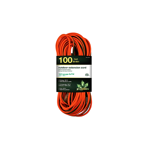 1 Outlet 16/3 100' Heavy Duty Ext. Cord - Lighted End