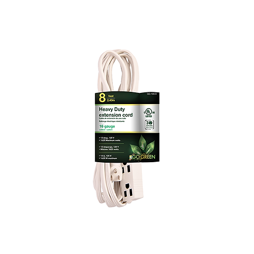 8' 3 Outlet Household Grounded Ext. Cord