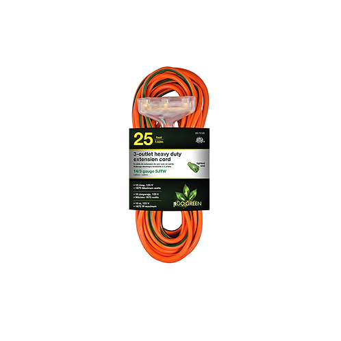 3 Outlet 14/3 25' Heavy Duty Ext. Cord - Lighted End