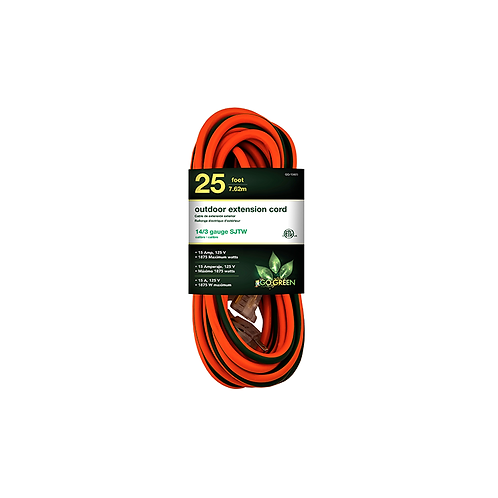 1 Outlet 14/3 25' Heavy Duty Ext. Cord - Lighted End