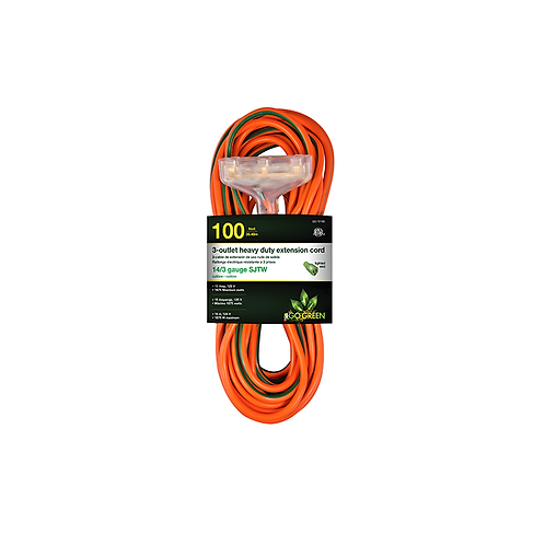3 Outlet 14/3 100' Heavy Duty Ext. Cord - Lighted End