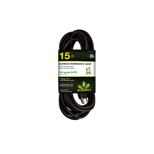 1 Outlet 16/3 15' Heavy Duty Ext. Cord - Black