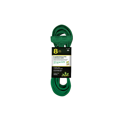 3 Outlet 16/3 8' Heavy Duty Ext. Cord - Green