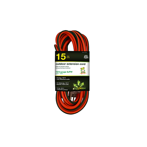 1 Outlet 16/3 15' Heavy Duty Ext. Cord - Lighted End