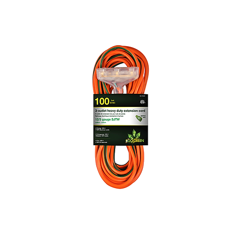 3 Outlet 12/3 100' Heavy Duty Ext. Cord - Lighted End