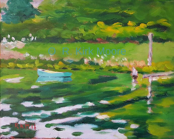 Blue Dinghy Up River
