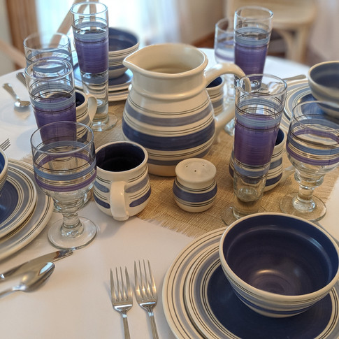 Blue Striped Dish Setting