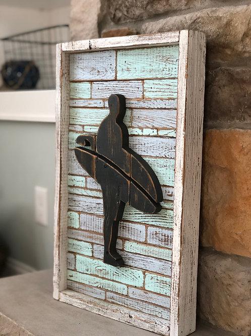 Reclaimed Cedar Surfer with Brick Pattern Background