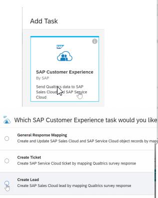 Qualtrix UI SAP C4C Web2Lead setup