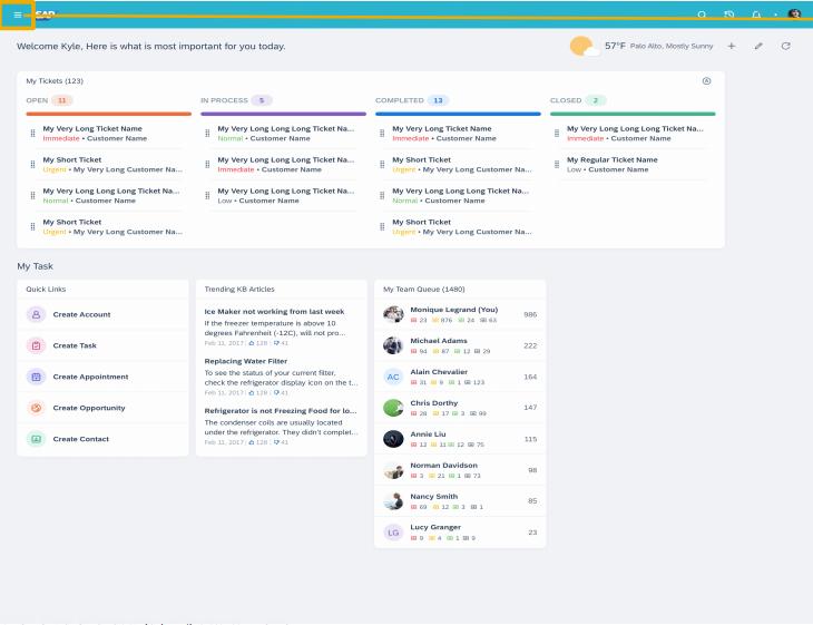 SAP C4C Saphira theme home page