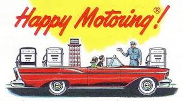 Happy motoring image at the height of the oil age