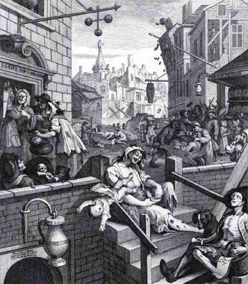 Excessive consumption of alcohol was one consequence of the industrial revolution. The image is of Hogarth's Gin Lane.