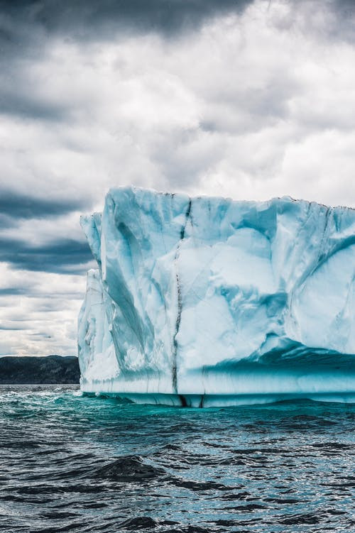 Splitting iceberg caused by climate change and global warming