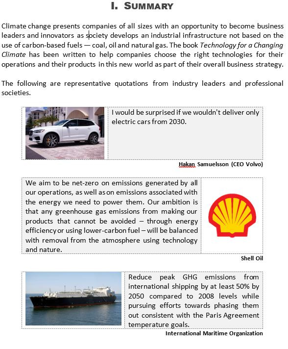 First page of the proposal for the book Technology for a Changing Climate