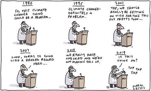Climate scientist warning of climate change — no one listens.