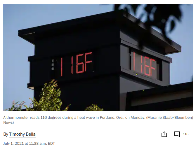 Heat dome in Pacific Northwest. Record high temperatures.