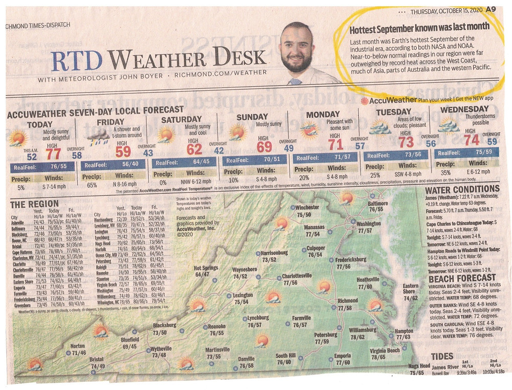 This is a newspaper clipping from the conservative newspaper, Richmond Times-Dispatch. It states that the month of September 2020 was the hottest in industrial times.