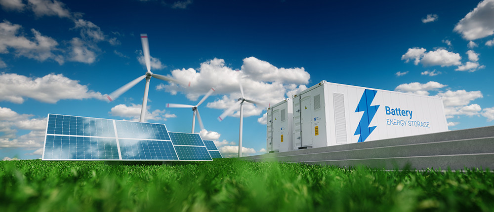 Batteries used to back up intermittent power source such as solar or wind.