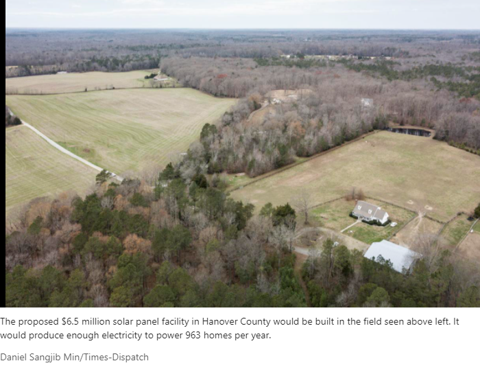 It is proposed to build a solar panel complex on this piece of land. This is causing resistance from neighbors, even those that are environmentally aware.