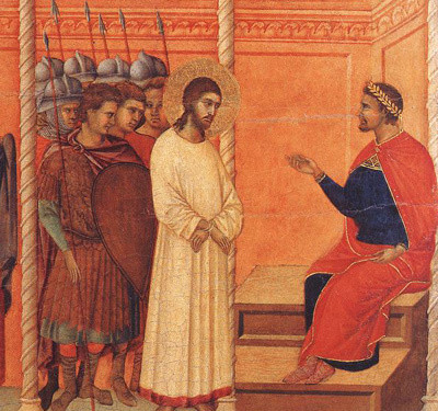 "Pontius Pilate asking Jesus, ""What is truth?"""
