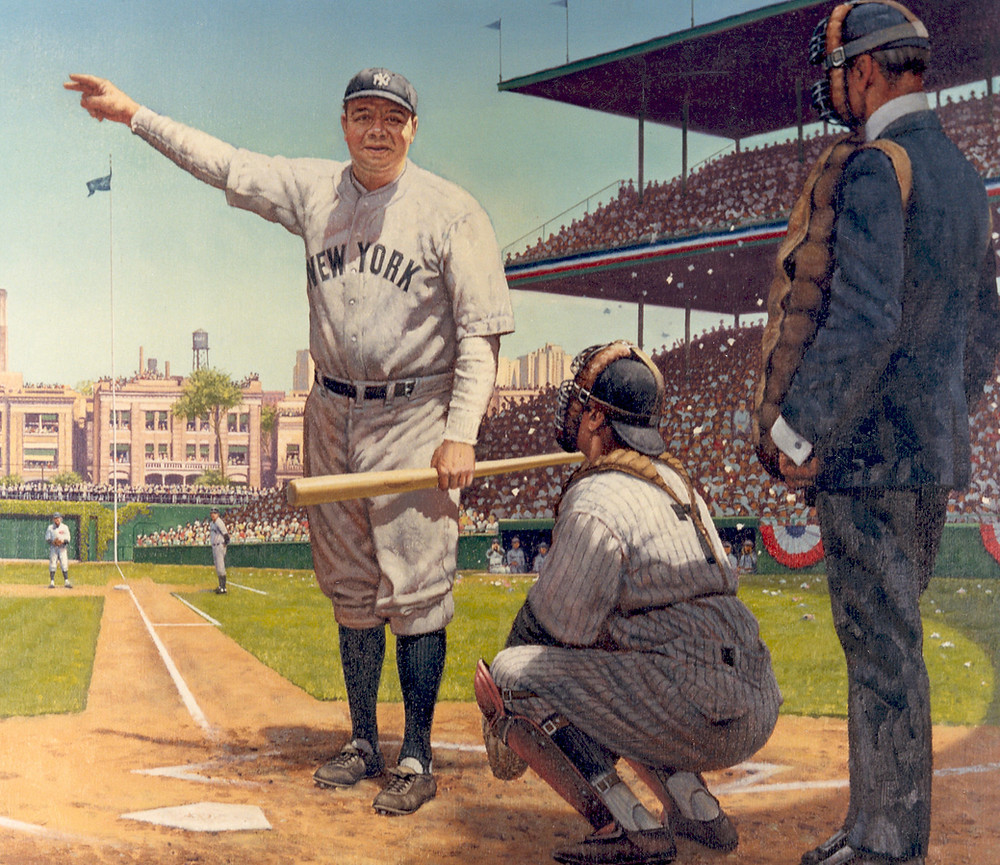 Nature bats last is taken from the supposed called shot that Babe Ruth made in the year 1932.