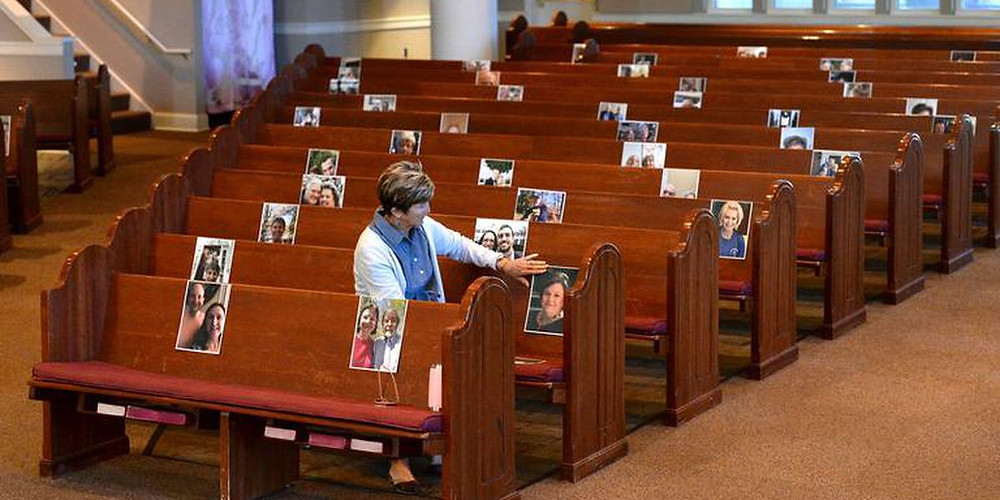 Pictures of people in church pews during COVID-19 pandemic.