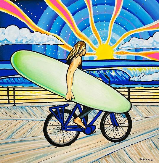 Boardwalk Surfer Art Print