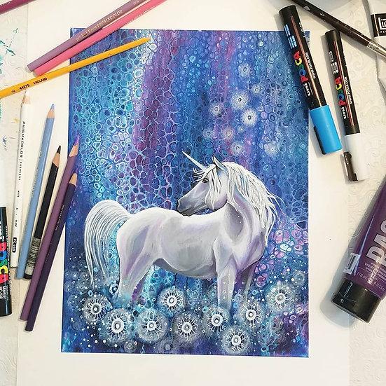 Dandelion Unicorn Original Painting