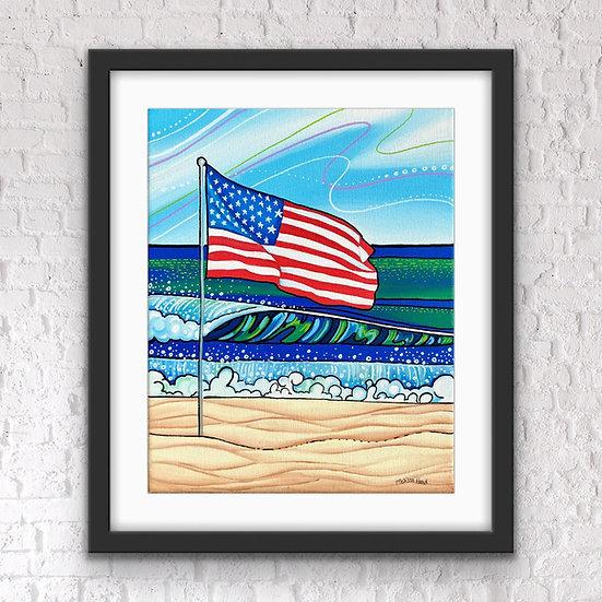 American Flag on the Beach Art Print