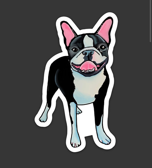 Smiley Boston Terrier Sticker