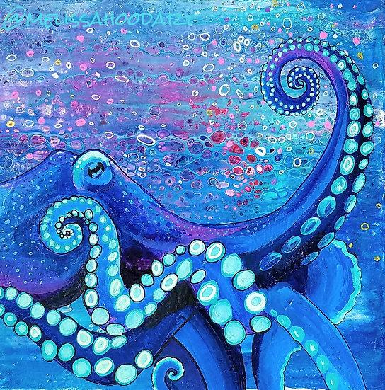 """Purple Octopus 10x10"""" Print"""