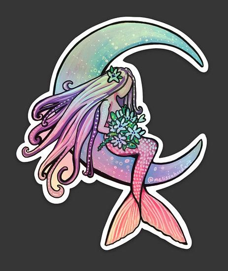 Moon Mermaid Holographic Sticker