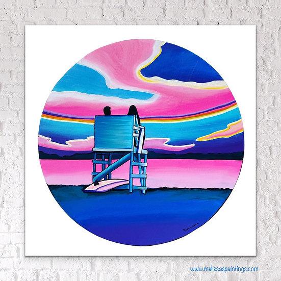 Seaside Sunset Circle Art Print