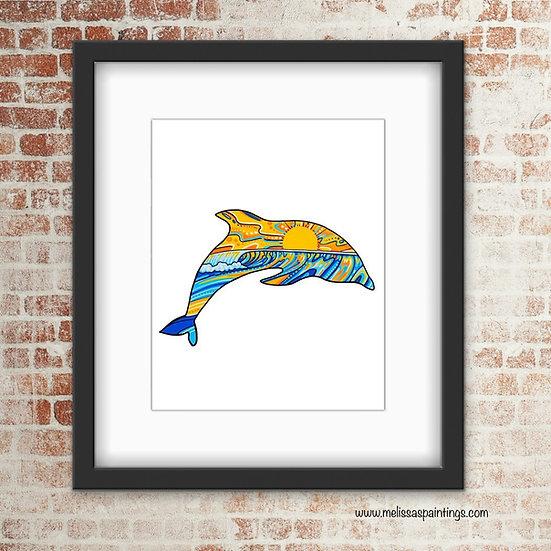 Dolphin Wave Art Print
