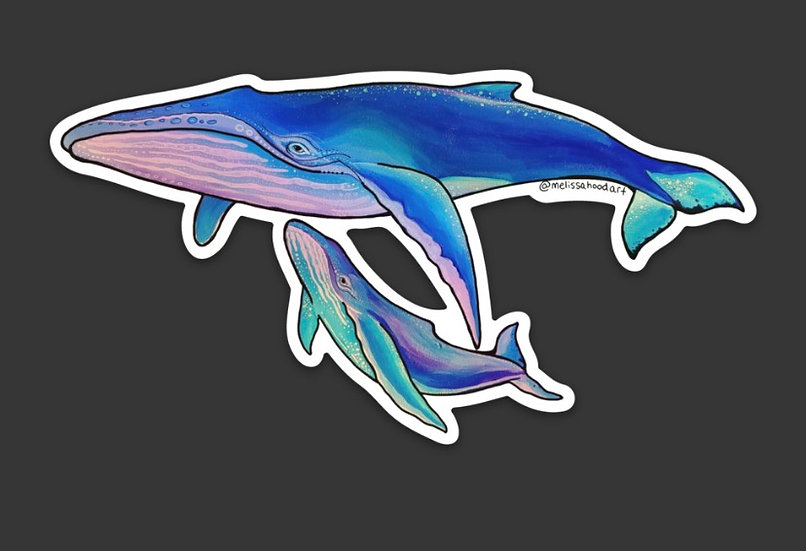 Whale Momma Holographic Sticker