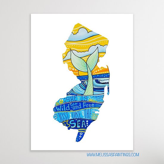 New Jersey Mermaid Art Print