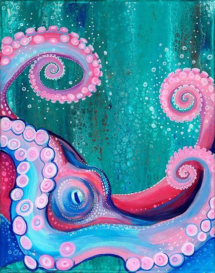 Pink Octopus Art Print