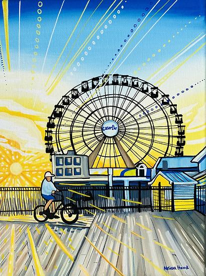 Seaside Boardwalk Sunrise Art Print