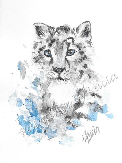 A5 Snow Leopard Watercolour Original