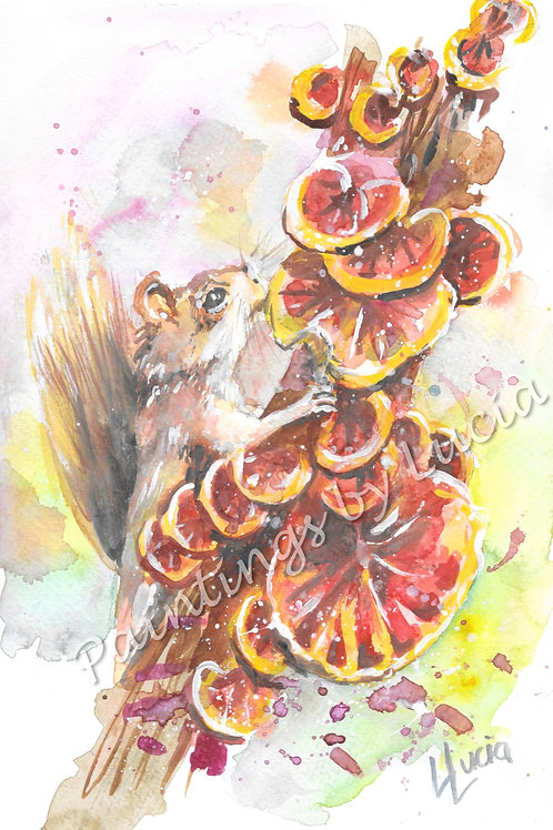 A4 Squirrel Watercolour Original
