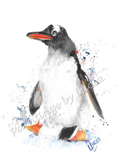 A4 Penguin Watercolour Original