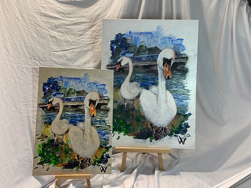 LIMITED EDITION print of Swans