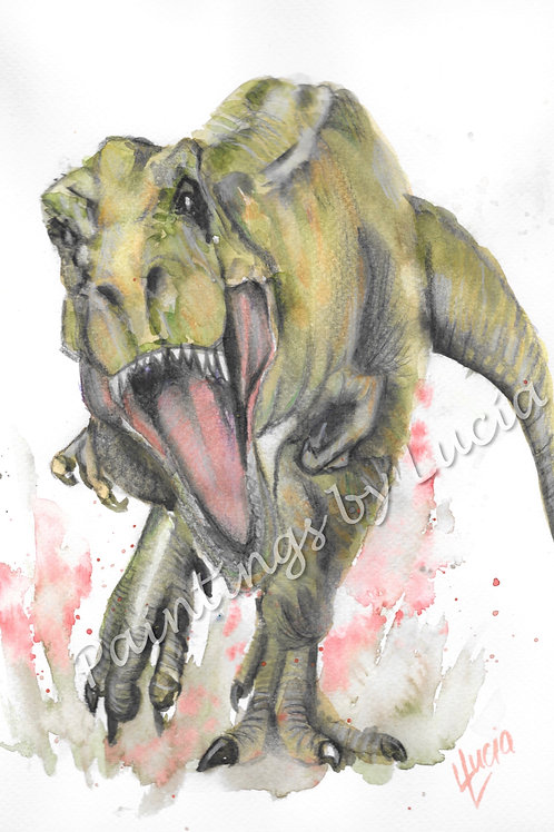 9x12 T-Rex Watercolour Original