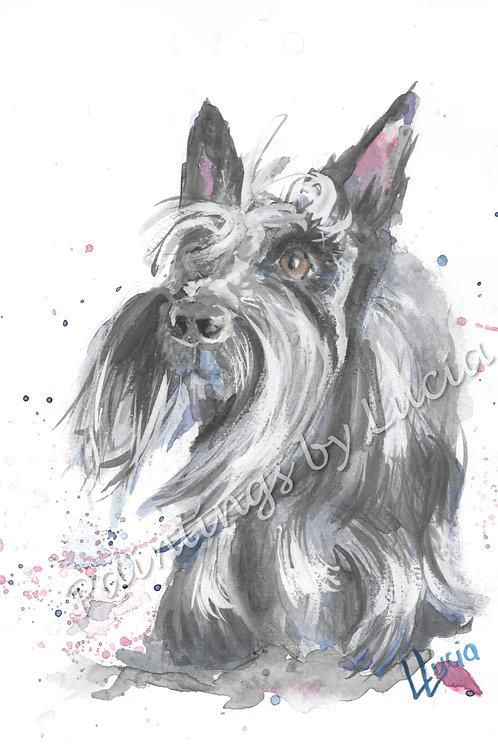 A4 Scottie Dog Watercolour Original