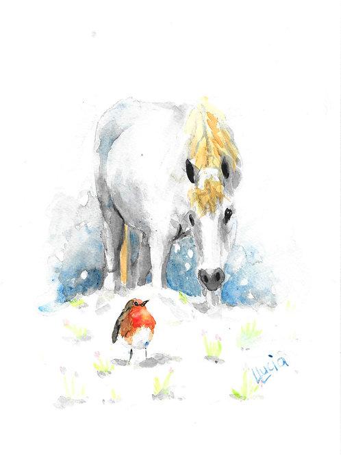 Horse & Robin in Snow